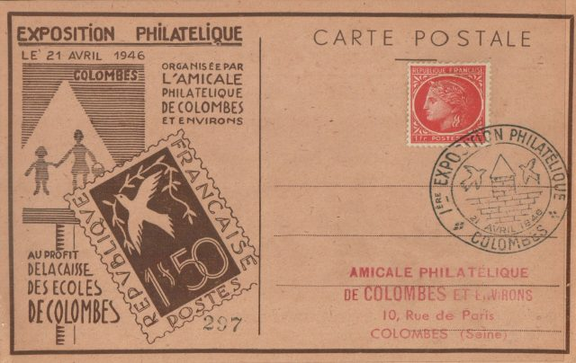 Carte postale Exposition philatélique 1946.