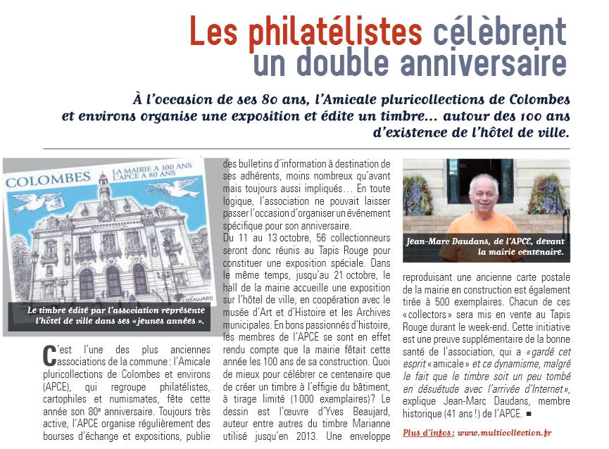 Le timbre sur l'Hôtel de ville de Colombes et l'apce à l'honneur sur Mosaïque.